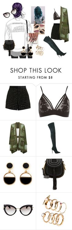 """""""Strangers #Halsey Ft. LaurenJauregui"""" by diane-ds ❤ liked on Polyvore featuring Topshop, River Island, Balmain, Gianvito Rossi, Warehouse, Chloé, Miu Miu and H&M"""