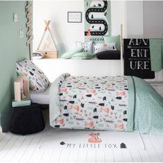 Bavlnené obliečky s lesným motívom FOXY Little Fox, Comforters, Toddler Bed, Ottoman, Blanket, Chair, Projects, Furniture, Home Decor