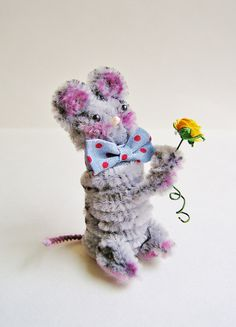 Wilfred the Mouse -- vintage style chenille handmade wired miniature animal - ornament, gift, topper, petite decor. $11.99, via Etsy.