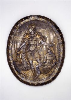 Plate from Milan,italy and garnished with Birnhelm,      ca. 1570.				  										  																						Mailand. Um 1570.
