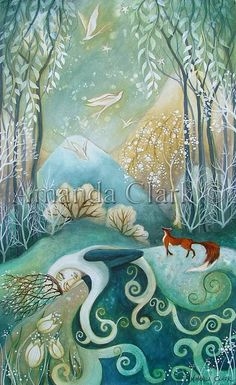 Reserved for Martha.  An unframed original painting by Amanda Clark.  'The Princesses Garden'.