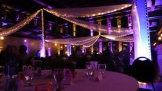 Wedding lighting at the Clyde Iron Works in Duluth, MN. Up lighting by Duluth Event Lighting. www.dulutheventlighting.com