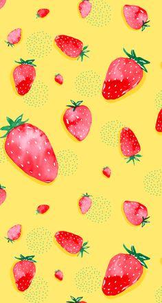 Summer Watercolor Strawberries iPhone Wallpaper @PanPins