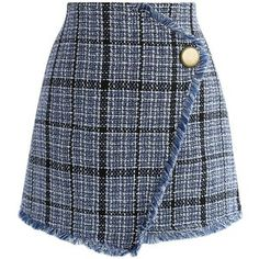 Chicwish Winsome Asymmetry Grid Tweed Flap Skirt in Navy
