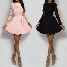 Splicing Crochet Lace Casual Mini Dress