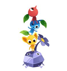 Blue Pikmin, Yellow Pikmin, Rock Pikmin and Red Pikmin.