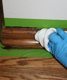stain honey oak trim darker using gel stain and a tube sock