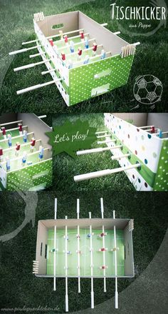 DIY crafting instructions: table football tinker made of cardboard and clothes pegs - Paula dots Diy Crafts To Do, Creative Crafts, Creative Things, Table Football, Ideias Diy, Diy Games, Business For Kids, Diy Table, Baby Foot