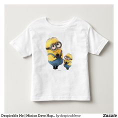 Customizable T-Shirt made by Zazzle Apparel. Minion Dave, My Minion, Happy Minions, Minions Movie Characters, Minions Despicable Me, Cartoon T Shirts, Consumer Products, Basic Colors, Cotton Tee