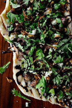 Steak Blue Cheese Pizza with Crispy Fried Shallots and Honey Balsamic Drizzle