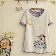 Buy 'Fairyland � Gingham Panel Embroidered Round-Neck T-Shirt' with Free International Shipping at YesStyle.com. Browse and shop for thousands of Asian fashion items from China and more!