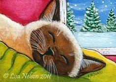 Art: Sleepy Siamese Cat ACEO by Artist Lisa Monica Nelson ~ might be a Siamese but it looks like my Burmese kitty, Felina!