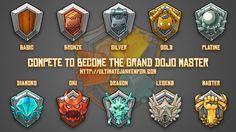 Compete to become the Grand Dojo Master ! Game Ui Design, Badge Design, Icon Design, Ux Design, Graphic Design, Game Gui, Game Icon, Ui Buttons, Mmorpg Games