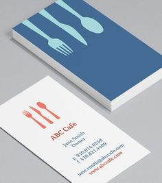 Café Utensils: there's always a welcoming place laid at your table with these warm pastel Business Cards, ideal for your café, restaurant, or catering company. Letterhead Template, Brochure Template, Graphic Design Templates, Print Templates, Cool Business Cards, Business Card Design, Visiting Card Templates, Welcome Card, Bussiness Card
