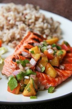 Salmon with Grilled Peach Salsa