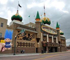 Blue-haired troll at the Corn Palace in Mitchell, S. Dakota