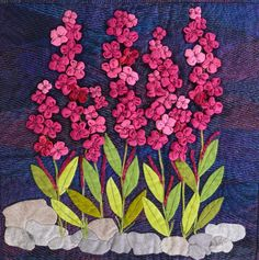 "Fireweed wildflower at Denali National Park and Preserve, a quilt by Ann Douglas, from the special exhibit ""National Parks: Celebrating 100 Years."" 2015 Houston IQF."