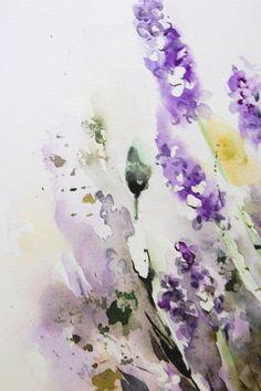 Lavender Flowers Original Watercolor Painting di CanotStop