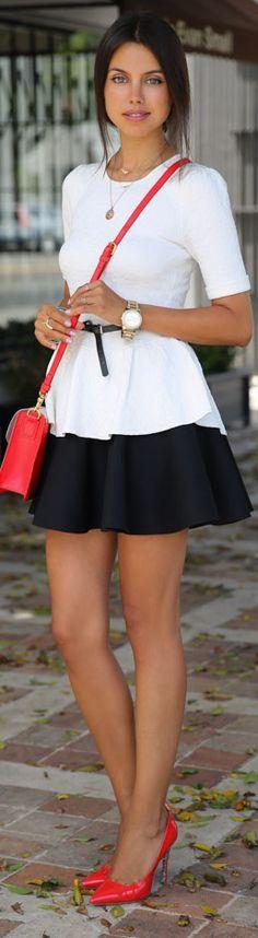 Black and white <3 #peplum #dress