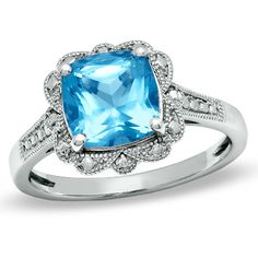 8.0mm Cushion-Cut Blue Topaz Vintage Ring in Sterling Silver - Size 7 - GreenTag - Zales