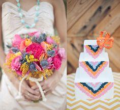bright flowers and wedding cake via Design Sponge