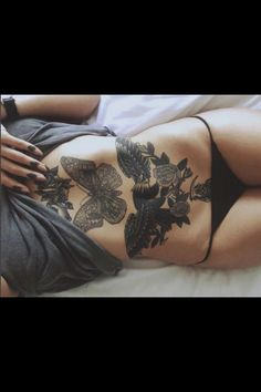 Stomach tattoo moth