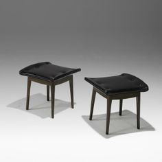 Edwaed Wormley; Walnut and Leather Seats for Drexel, 1950s.
