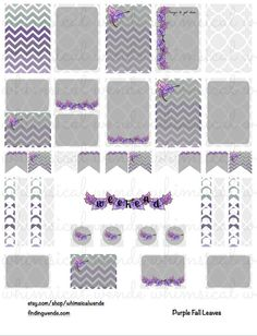 FREE Printable Planner Stickers Kit Purple Fall Leaves - Instant Digital Download - Finding Wende