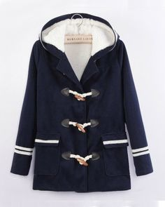 57.46 Navy Long Sleeve Fur Hooded Pockets Coat - Sheinside.com