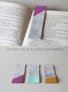 DIY LEATHER COLOR BLOCKED BOOKMARKS