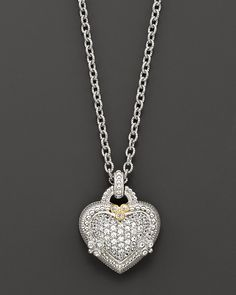 Judith Ripka Sterling Silver and White Sapphire Pavé Ambrosia Heart Pendant Necklace