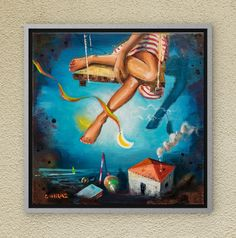 The Dreamland swing. Swing away! Oil on canvas. Oil On Canvas, Canvas Wall Art, Night Skies, Childhood Memories, Fairy Tales, Mixed Media, Symbols, Paintings, Sky