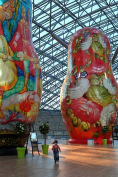Exhibit of giant Matryoshka dolls in Moscow.