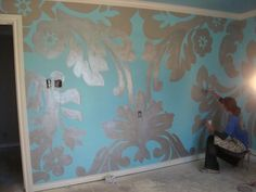 love the oversized damask. Would be gorgeous tone on tone
