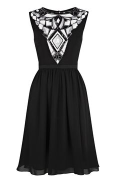 Black Dress with Decor on Chest and Waist Band