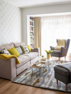 Grey-white-yellow living-room