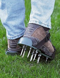 Buy your one size fits all lawn aerator sandals. Just strap on these lawn aerator sandals and get to work. Lawn And Garden, Garden Paths, Garden Tools, Garden Gadgets, Garden Fences, Herb Garden, Vegetable Garden, Garden Care, Best Grass Seed