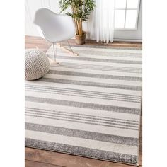 nuLOOM Power-Loomed Geometric Stripes Grey Rug (7'10 x 11'2) | Overstock.com Shopping - The Best Deals on 7x9 - 10x14 Rugs