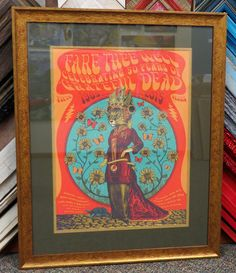 Use a dark mat in a color complementary to the background to give a print a rich feel. #gratefuldead #concertposter