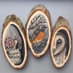 Tattoo Inspired Drawings on Wooden Slices by Kirsten Roodbergen of 'Inkspire. - # - Tattoo Inspired Drawings on Wooden Slices by Kirsten Roodbergen of 'Inkspire… – # Tattoo Inspired Drawings on Wooden Slices by Kirsten Roodbergen of 'Inkspire… – # Wood Burning Crafts, Wood Burning Patterns, Wood Burning Art, Wood Crafts, Diy Wood, Diy Crafts, 4 Tattoo, Wooden Slices, Copic Art