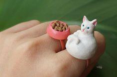 cat & food dish rings
