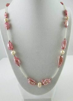 Pink Necklace Pearl Necklace Pearl Jewellery Long by JewelsInspire