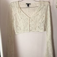 Lace long sleeve crop top! Super cute for festivals in very good condition! Worn once for a photoshoot! Forever 21 Tops Crop Tops