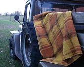 Fleece Fall Blanket Golds Tan Brown Rust Green