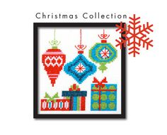 Mod Christmas Ornaments Cross Stitch Pattern от tinymodernist