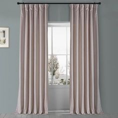 Exclusive Fabrics & Furnishings Ballet Pink Velvet Rod Pocket Room Darkening Curtain - 50 in. W x 96 in. L-VPYC-161207-96 - The Home Depot Pink Velvet Curtains, Blush Curtains, Curtains 1 Panel, Silk Curtains, Room Darkening Curtains, Blackout Curtains, Colorful Curtains, White Pillows, Home Decor Outlet