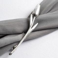 Sterling Silver Tulip Brooch