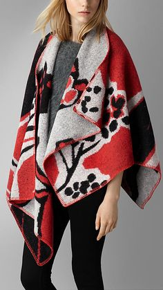 Bright rose Insect Pattern Wool Cashmere Poncho - A wool cashmere poncho crafted in Scotland.  The design is jacquard-woven with an insect pattern. Discover the poncho collection at Burberry.com
