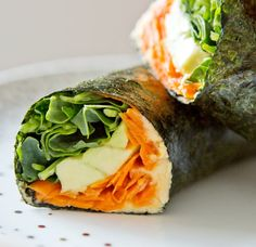 Nori Veggie Wraps -> adios the hummus for the paleo set but it could be easily replaced by mushed avocado. Throw in some cucumber, smoked salmon, crab meat, tuna, red capsicum. so many options! Raw Food Recipes, Asian Recipes, Vegetarian Recipes, Cooking Recipes, Healthy Recipes, Cooking Tips, Diet Recipes, Veggie Wraps, Paleo Wraps