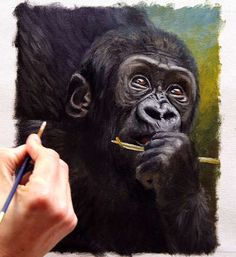 How to paint a gorilla baby - brief tutorial painting tips by Jason Morgan.